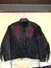 BLACK LEATHER MOTORCYCLE JACKET w/Pink Flowers Dallas Premium Leather...Size 14