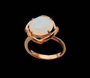 12mm Faceted Moonstone Rose Gold Filled Coctail Ring 6.5 M  lights up reddish