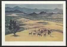 Монголия Открытка Живопись Природа Пустыня Гоби 1980-е гг.