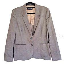 JAEGER Womens Size 14 Grey Herringbone Blazer Jacket Business Work Corporate