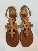 Tory Burch Tan Leather Phoebe T Sandals with Heels Size 8 Fast Shipping