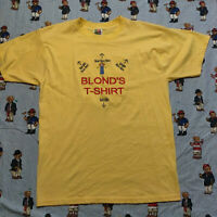 Vintage 90s Blonde's T-Shirt Instructions LARGE Yellow Sewn Fruit of the Loom