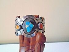 Vtg .925 Sterling Turquoise & Mexican Moon Stone Wide Navaho Cuff Bracelet