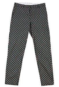 H&M Women's Tapered Leg Trouser LADIES Diamond Print Pants Size EUR-36 GENUINE
