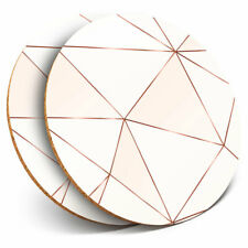 2 x Coasters - Pink Copper Metallic Effect Art Deco Home Gift #21392