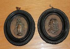 2 ancien médaillon cadre religieux