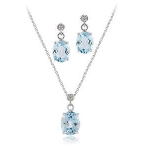 925 Silver 6&1/2ct Blue Topaz & Diamond Accent Oval Pendant Earring Set