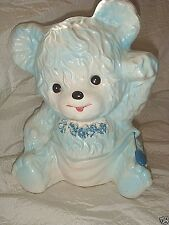 1963 SAMSUNG IMPORT 3'd BLUE TEDDY BEAR in DIAPER Ceramic Baby Planter