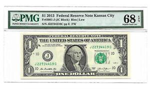 2013 $1 KANSAS CITY FRN, PMG SUPERB GEM UNCIRCULATED 68 EPQ BANKNOTE