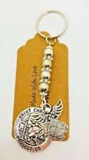 Silver St Christopher Guardian Angel Keyring, driving test lucky charm talisman