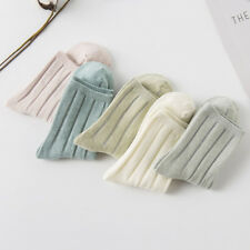 Women Cotton Long Ankle Socks Ribbed Trim Vertical Striped Knitted