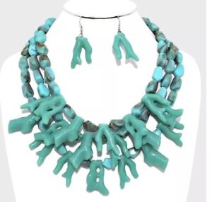Turquoise Blue Multi Layered Strand Bead Chunky Necklace Coral Earrings Set