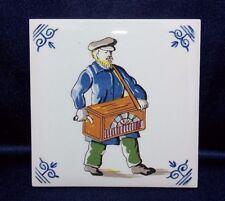 "Delft Tile Man Organ Grinder Wall Decor 4-1/4"" X 4-1/4"" Holland Hand-painted Vtg"