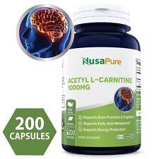 NusaPure Acetyl L-Carnitine 1000mg 200 Capsules (NON-GMO & Gluten Free)