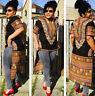 Women African Print Dashiki Dress shirt Boho Hippie Gypsy Party Top Swallow-tail