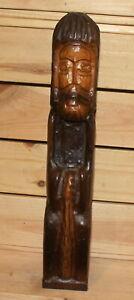 Vintage hand carving wood old man figurine
