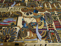 ALEXANDER HENRY EGYPTIAN FABRIC 1993 OUT OF PRINT HEAVY GOLD ACCENTS THROUGHOUT