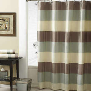 Croscill Fairfax 72-Inch x 72-Inch Shower Curtain Taupe Striped Quilted Stitch