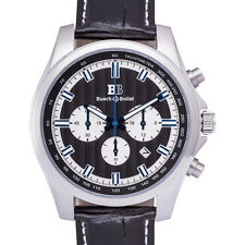 Buech & Boilat Grand Boucle Quartz Men's Chronograph Watch Leather Band Ret $899