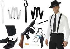 MENS 1920s FANCY DRESS ACCESSORIES GANGSTER BRACES TIE TOMMY GUN HOLSTER LOT