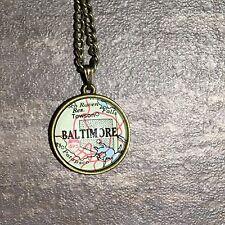 TOWSON DUNDALK BALTIMORE MARYLAND USA Map Pendant bronze necklace vntg ATLAS