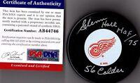 PSA/DNA GLENN HALL HOF 75-56 CALDER AUTOGRAPHED-SIGNED DETROIT RED WINGS PUCK 6