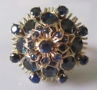 Secondhand 9ct yellow gold multi cut multi sapphire 3D round cluster ring size N