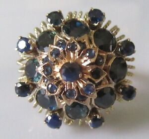 9ct Gold Ring - 9ct Yellow Gold Sapphire Cluster Ring size N