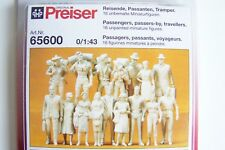 NEW  Preiser O 1:43 scale  SIXTEEN (16) UNPAINTED PASSENGER FIGURES KIT 65600