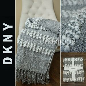 """NEW DKNY Pure Bobble Woven Throw Blanket with Fringe ~ 50"""" X 60""""~ Grey"""