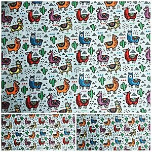 Remnant Offcut Polycotton Fabric GREY LLAMA OF PERU MATERIAL CRAFTS SEWING