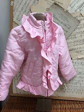 GYMBOREE Light PINK Lightweight PUFFER COAT Jacket GIRLY RUFFLES XS 3-4 Hoodless