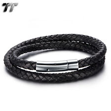 TT Double-Row Black Leather 316L Stainless Steel Bracelet (BR213D) NEW Arrival