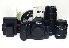 Canon EOS 7D 18.0MP DSLR Digital Camera EFS 18-55mm 75-300mm Lenses Shoulder Bag