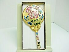 Cloisonne And Gold Tone Hand Held Vanity Mirror New In Original Box