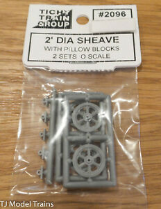 Tichy Train Group O Scale #2096 2' Dia Sheave With Pillow Blocks 2 Sets