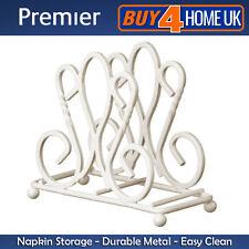 Premier Cream De Lis Napkin Holder - Kitchen Stand Organiser Weight Metal Design