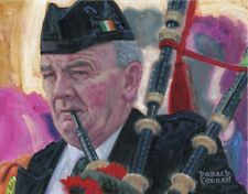 ORIGINAL OIL PAINTING, PLAYING THE BAGPIPES, IRELAND IRISH, Listed Artist NR!