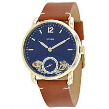 New! Gents Fossil Commuter Brown Leather Strap Blue Dial ME1167 Mens Watch