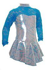 Skating Dress - Silver Sheen/Turquoise Foil Hologram / turquoise Lace -Skater