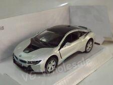 "Bmw i8 Silver Die Cast Metal Model Car 5"" Kinsmart Collectable New"