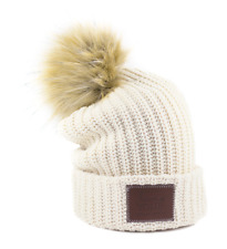 Love Your Melon NEW Natural (Off White/Cream/Beige) Cuffed Pom Beanie Knit Cap