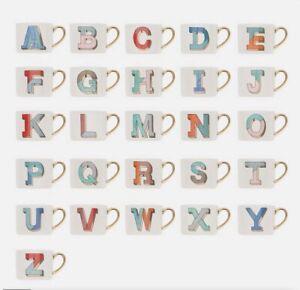 Debenhams BONE CHINA MUG Gold Handle Monogram ALPHABET Letters B D F G I J M