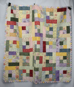 "Lap Quilt Handmade Square 45"" Cotton Floral Prairie Point Binding Edge Patchwork"