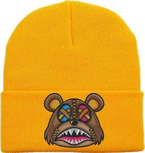 Crazy Stitched Baws Knit Beanie - Gold