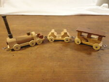Hand Made Assembled Small Wood Train Set Engine Car Caboose (hd1)