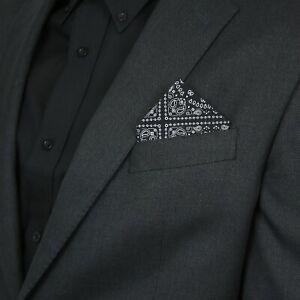 Relco Mens Pocket Handkerchief Square Paisley Floral Tartan Check Hanky Suit Mod