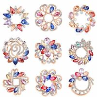 Silver Colorful Flower Scarf Brooch Electroplate Pins Jewellery for Wedding Gift