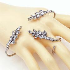 Punk Rock Crystal Hand Palm Bracelet Bangle Cuff Ring Set Fancy Dress Jewelry