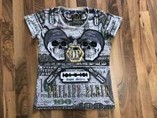 Philpp Plein°T-Shirt°Damen-Shirt°Skull-Totenköpfe°Strass°L°GRAU-GRÜN (189)